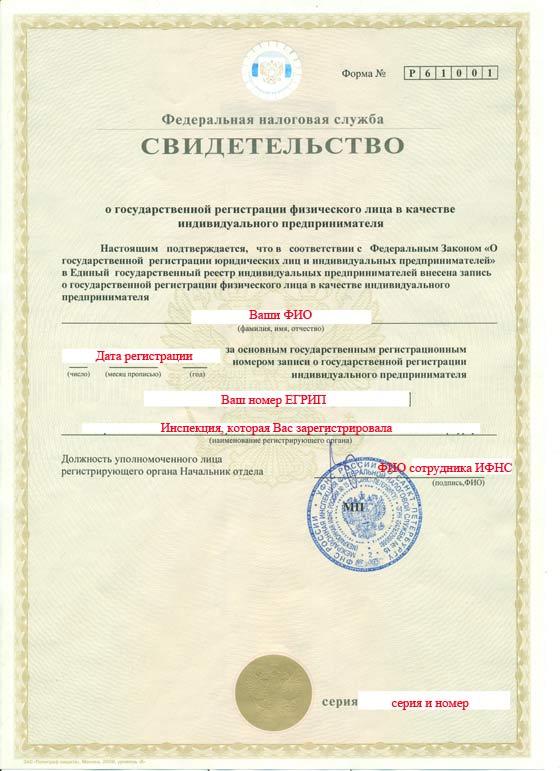 Свидетельство О Гос.регистрации Ип Образец - Руководства ...