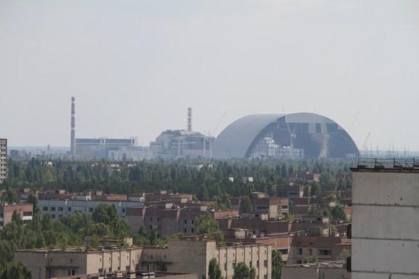 Blick auf Reaktor 4 aus Pripyat