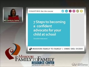 Screensihot: 7 Steps to Becoming a Confident Advocate for your Child at School webinar screen