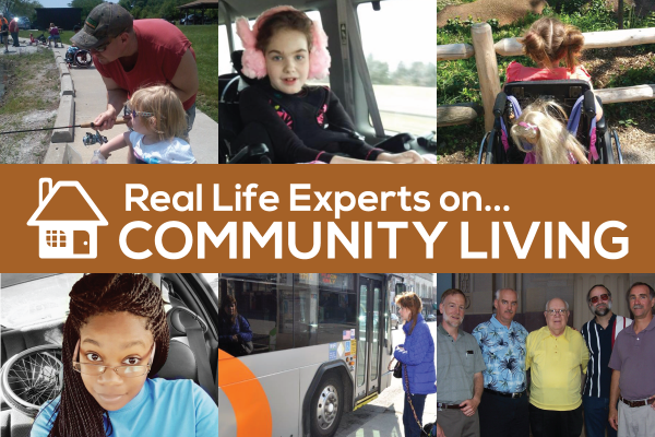 "Image: Reads ""Real Life Experts on Community Living"" Banner with photos of Real Life Expert columnists"