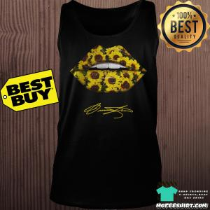 Lips Mouth Sunflower Signatures tank top