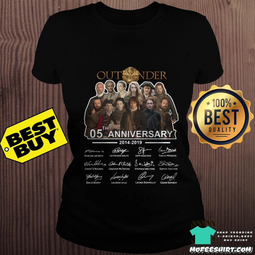 05th anniversary outlander 2014 2019 signatures ladies tee - 05th Anniversary Outlander 2014-2019 signatures shirt