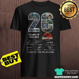 26 Years of Jurassic Park 1993-2019 thank you for the memories signatures shirt