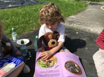Reading a story to our teddies.