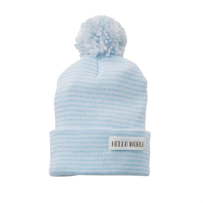 Pom Hat-Hello World-Blue-Newborn