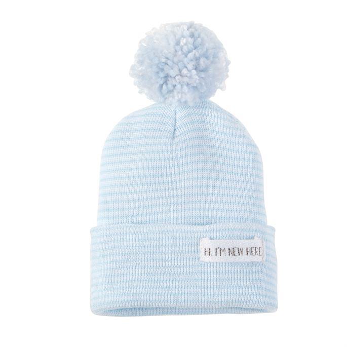 Pom Hat-New Here-Blue-Newborn
