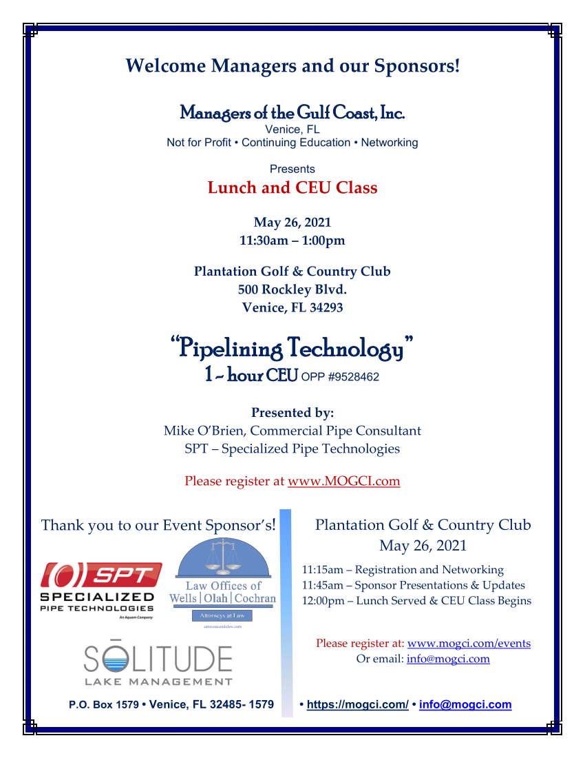 MOGCI Lunch and CEU - Overcoming the Unexpected - OPP or ELE - March 24, 2021