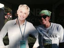 """At the ING Hartford Marathon I saw a cutout of Ellen. I consider this a """"sign"""" that I will one day be on the Ellen show sharing my story, no pun intended :)"""