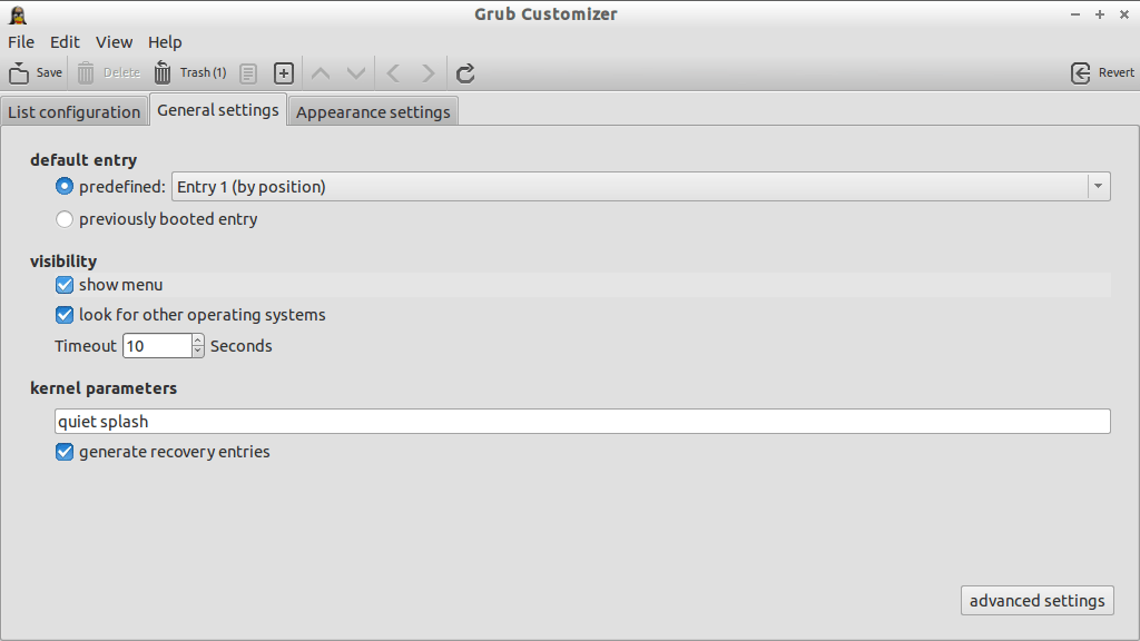 Grub Customizer_General Settings