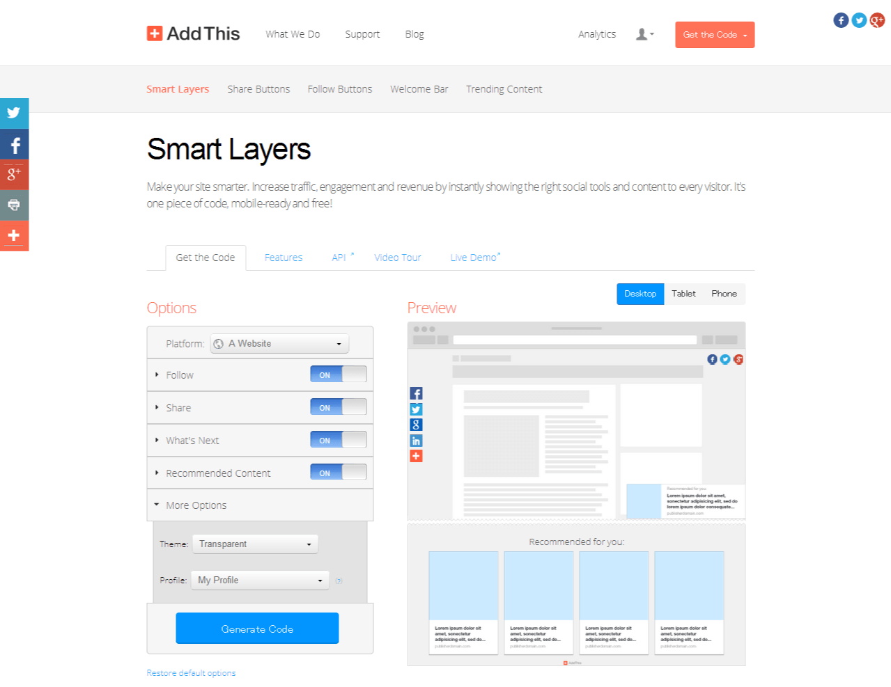 AddThis Smart Layers - Get the Code