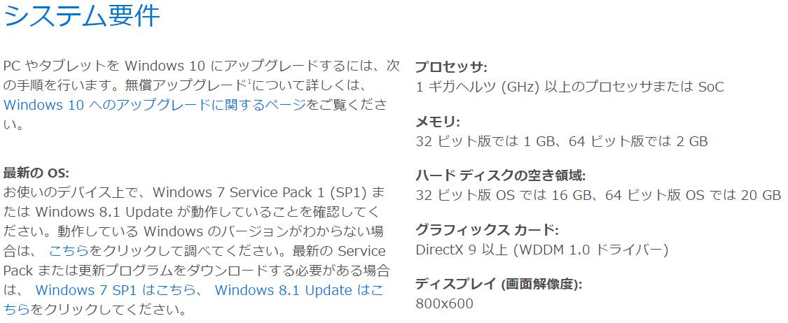 Windows10の仕様とシステム要件-マイクロソフト