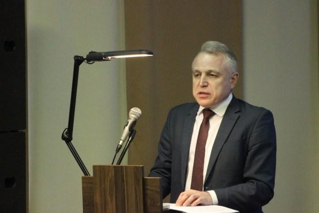 Председатель Федерации профсоюзов Беларуси Михаил ОРДА выступает на V отчётно-выборной конференции Могилёвского областного объединения профсоюзов