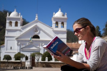 Sarah studying our Bolivian guide book we found in a book exchange