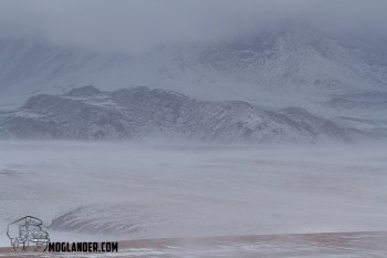 Visibility was poor in the Atacama snow showers
