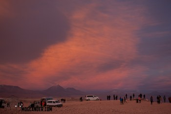 Tourists turn up for the 30 minutes around sunset on the overlook over the Valley of the moon, Atacama, Chile