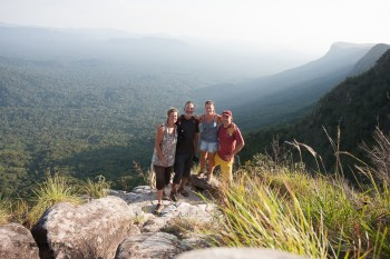 Group shot over the Venezuela rainforest looking out towards Brazil and the Amazon