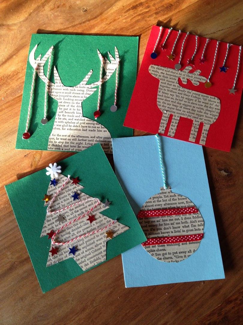 Новогодняя открытка своими руками из гофрированной бумаги
