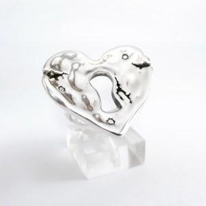Anillo Corazón con Cerradura Plata 925
