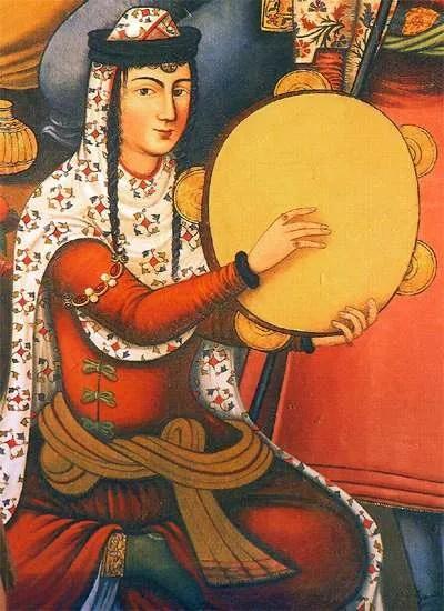 Persian woman playing daf