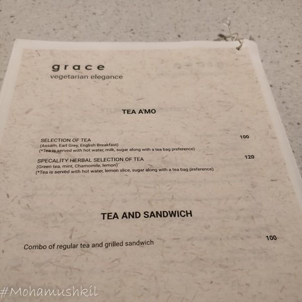 menu for Grace- Kolkata centre for creativity