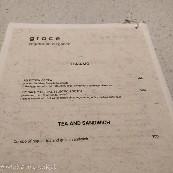 menu for Grace- Kolkata centre for creativity