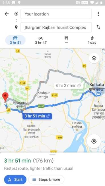 route from Kolkata to Jhargram