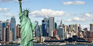 NYC skyline with statue of liberty