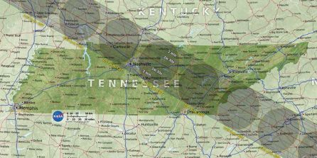 The path of the Eclipse as it will cross Middle Tennessee in August.
