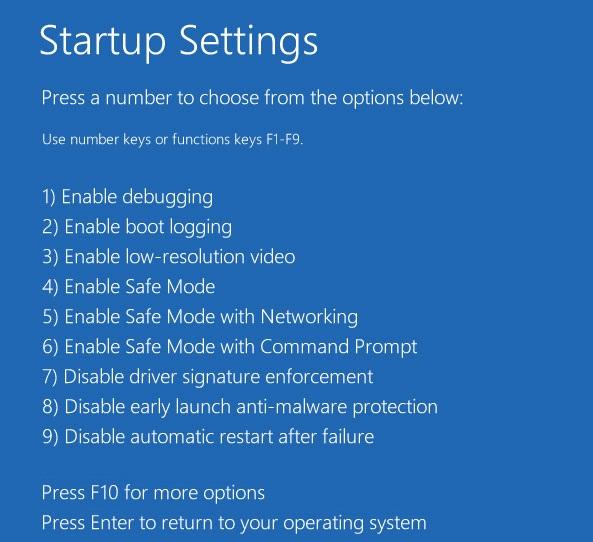 startup settings screen