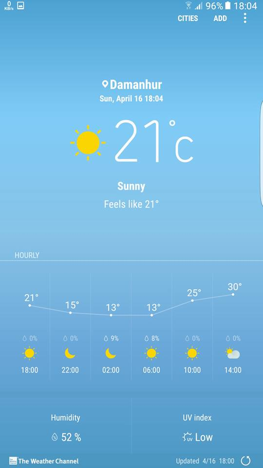 Galaxy S8 weather settings