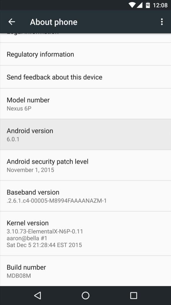 إصدار النظام بهاتف Nexus 6P