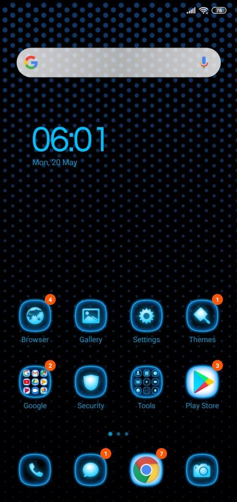 واجهة عرض التطبيقات لثيم Bluedot