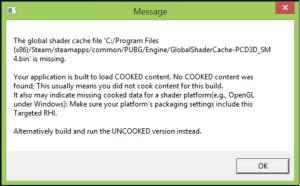رسالة خطأ Global Shader في لعبة ببجي لايت