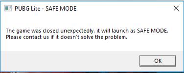 مشكلة رسالة الوضع الآمن في لعبة ببجي لايت PC