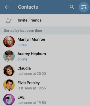 Sorting Contacts with Telegram v5.6.1