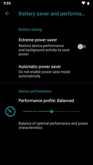 LineageOS 16 Device Settings Battery Saver and Performance