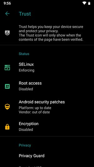LineageOS 16 Device Settings Trust