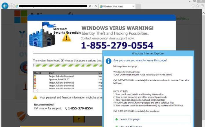 إشعار زائف بالخطر من وجود فيروسات