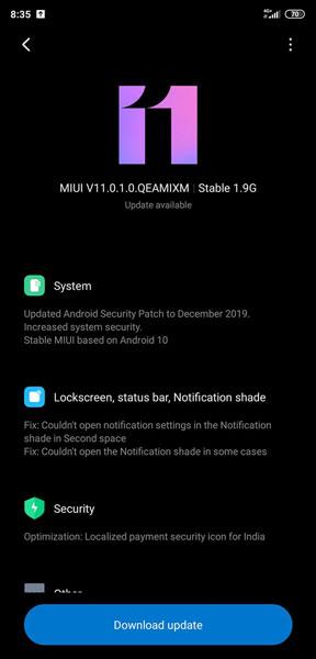 Android 10 Xiaomi Mi 8 update