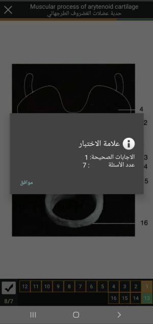 التقييم في تطبيق التشريح بالعربي