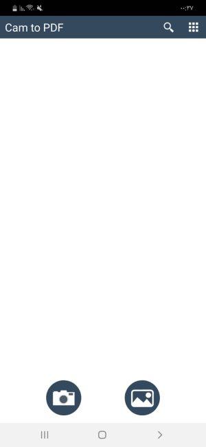 الصفحة الرئيسية لتطبيق Cam to Pdf