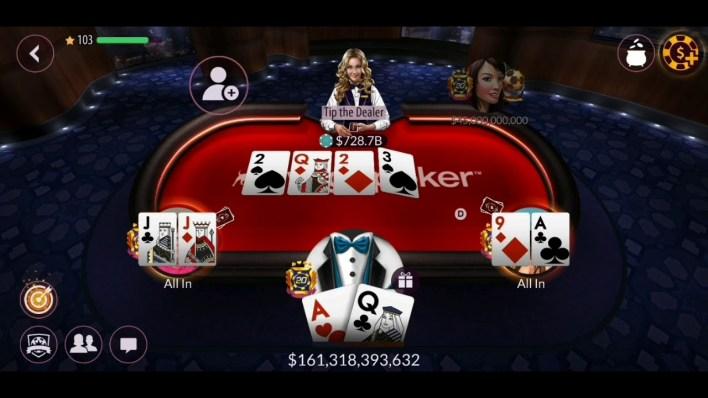 التعاون بين الأصدقاء في لعبة zynga poker texas holdem