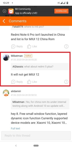 Redmi 5 Plus will not receive MIUI 12