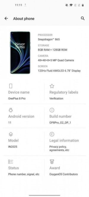 OnePlus 8 Pro Android 11