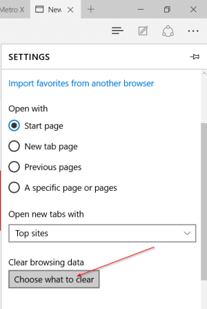 زر Choose what to clear في Microsoft Edge