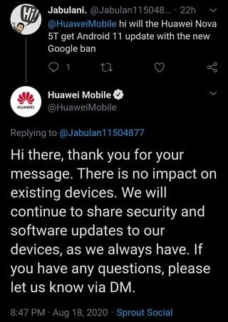 huawei nova 5t android 11 response