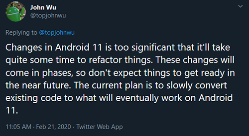 Android 11 Magisk Development topjohnwu tweet 1