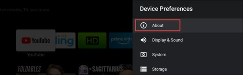 خيار About من قائمة Device Preferences لتقوم بعمل إعادة تشغيل اندرويد تي في