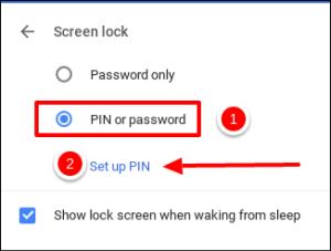 الضغط على Set up PIN بعد اختيار PIN or Password في كروم بوك
