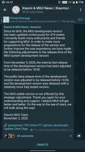 MIUI 12 beta program release timeline change